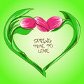 Illustration with tulip flowers in shape of heart spring Stock Photography