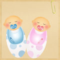 Illustration of twins baby child with pacifier Royalty Free Stock Photo
