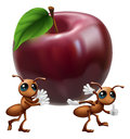 Illustration two ant characters carrying big apple conceptual illustration teamwork helping each other Stock Image