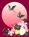 Illustration two beautiful cranes flying above stylized japanese cherry blossom big sun red background Royalty Free Stock Photos
