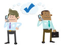 Illustration two business buddies making deal year telephone Royalty Free Stock Photo