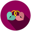 The illustration is a two key heart the icons together.green key heart with pink key Heart in the circle.