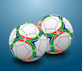 Illustration two soccer balls blue background Stock Photo