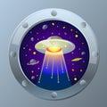 Illustration UFO starry sky