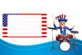 Illustration of uncle sam with drums d rendered Royalty Free Stock Photo
