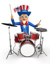 Illustration of uncle sam with musical instrument d rendered Royalty Free Stock Photography