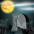 Illustration of undead zombie rising from the grav vector hand drawn style halloween with grave in front full moon Stock Photos