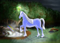 An illustration of a unicorn near a magic spring at the edge of a forrest Royalty Free Stock Photo