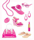 Illustration of various pink fuchsia summer accessories for women Stock Image