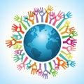 Volunteer hands around the world