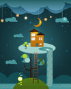 Illustration vector , house on peaceful landscape,night sky back Royalty Free Stock Photo