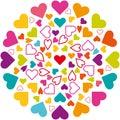 Illustration vector mandala, hearts icons, multicolored