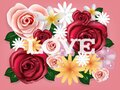 Illustration vector realistic of beautiful rose flowers background with love text Royalty Free Stock Photo