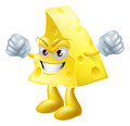 An illustration of a very angry looking cartoon cheese man character with hands in fists Royalty Free Stock Photography