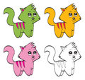 Illustration very cute cartoon cats Stock Photography
