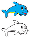Illustration very cute cartoon dolphin Stock Photos