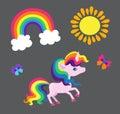 Illustration of a very nice rainbow unicorn with a rainbow sun and a butterfly.
