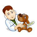 Illustration of veterinarian examining dog