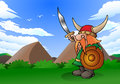 Illustration viking man hold sword shield nature background Royalty Free Stock Image