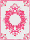 Illustration of a vintage frame in pink color retro with floral motifs isolated on white background Royalty Free Stock Photo