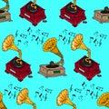 Illustration vintage music. Vintage music card with gramophone. Seamless pattern gramophones.