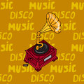 Illustration vintage music. Vintage music card with gramophone. Seamless pattern phonograph. Royalty Free Stock Photo