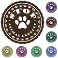 Illustration vintage pet related slogan label stamp paws text stop animal cruelty Stock Photos