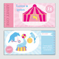 Illustration of Vintage set circus ticket template. Invitation coupon with tent, bear, pudel on arena.