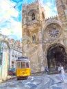 Illustration of vintage tram in lisbon district names Alfama at Cathedral Se