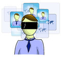 Illustration of virtual reality person
