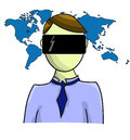 Illustration of virtual reality person with map isolated