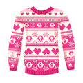 Illustration of warm sweater with owls and hearts. Pink version. Royalty Free Stock Photo