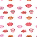 Illustration watercolor pattern red lips