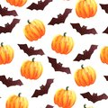 Illustration watercolor seamless pattern of bats and pumpkins. for the holiday halloween