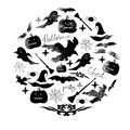Illustration of watercolor set for the holiday Halloween. Pumpkin, ghost, hat, broom, bat, spider webs and other Halloween items a