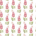 Illustration in watercolor of a Willow-nerb flower. Floral card with flowers. Botanical illustration seamless pattern.