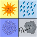 Illustration of the weather icons. Royalty Free Stock Photography