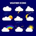 Illustration of weather. rain, storm, lightning, snow, sky with stars, rainbow, cloudy, sunset, moon, overcast, sun