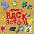 Illustration `welcome back to school`, School set,
