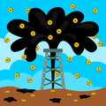 Illustration of a well squirting oil and tossing dollar coins Stock Photos
