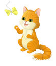 Illustration on white background of a cat who plays with a bow.