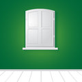 Illustration of a white window on green wall Royalty Free Stock Photography
