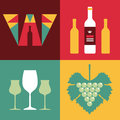 Illustration of wine in flat design style vector format Stock Images