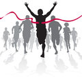 Illustration winning athlete ahead group marathon runners competing street race Royalty Free Stock Image
