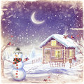 Illustration of winter landscape with snowman christmas scene with snowman and house Royalty Free Stock Photography