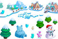 Illustration: Winter Snow Ice World Theme Elements Design Set 1. Game Assets. The House, The Tree, Ice, Snow, Snowman.