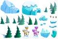 Illustration winter snow ice world theme elements design set game assets pine tree ice snow eskimo igloo realistic cartoon style Stock Photo