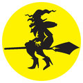 Illustration witch flying on a broomstick silhouette Royalty Free Stock Images