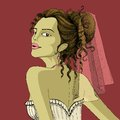 Illustration of woman in bridal dressup in retro style Royalty Free Stock Photo
