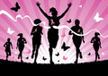 Illustration women running race to raise awareness cancer Stock Photo